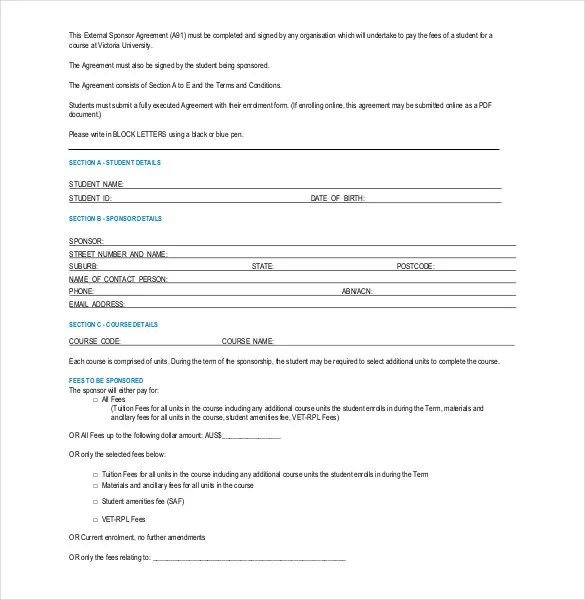 Sponsorship Agreement Template \u2013 10+ Free Word, PDF Documents - Blank Sponsorship Forms