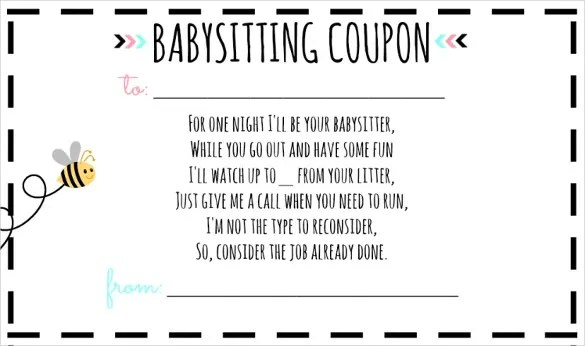 10+ Babysitting Voucher Templates \u2013 Free Sample, Example Format - microsoft word coupon template