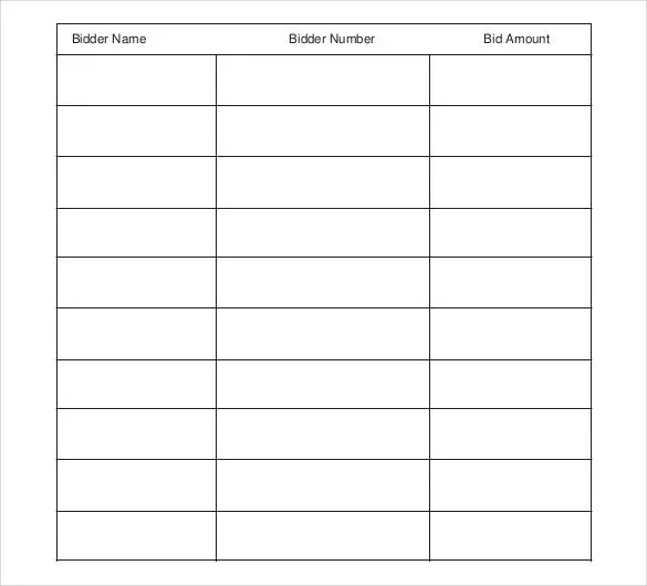 Sample Silent Auction Bid Sheet Free Bid Sheets Free Bid Sheets - Bid Sheet Template Free