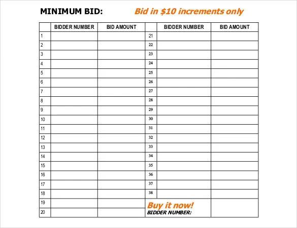 silent auction bid sheet free template