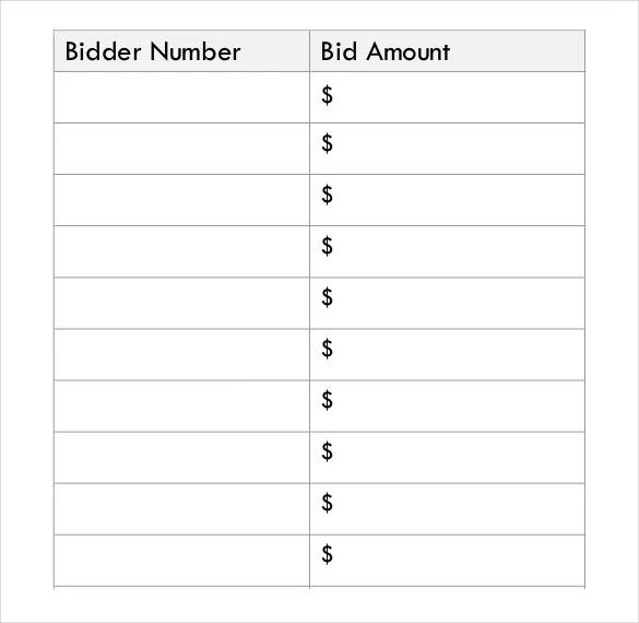 20+ Silent Auction Bid Sheet Templates  Samples - DOC, PDF, Excel