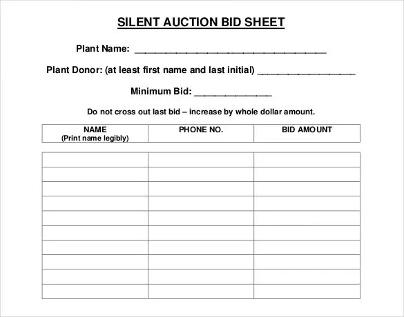 Silent Auction Bid Sheet Template - 30+ Free Word, Excel, PDF - sample silent auction bid sheet