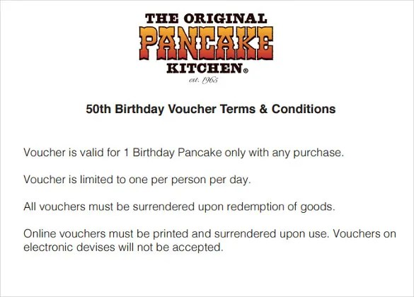 12+ Birthday Voucher Templates u2013 Free Sample, Example Format - sample terms and conditions template