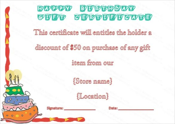 12+ Birthday Voucher Templates \u2013 Free Sample, Example Format - sample birthday gift certificate template
