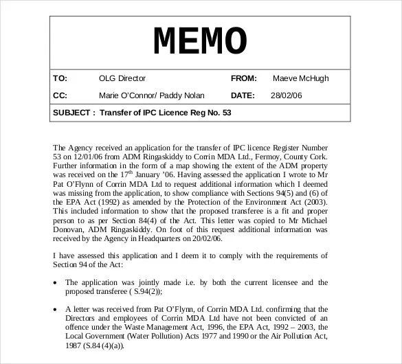 Internal Memo Templates - 16+ Free Word, PDF Documents Download - memo sample in word