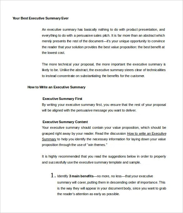 sample executive summary template - Ozilalmanoof