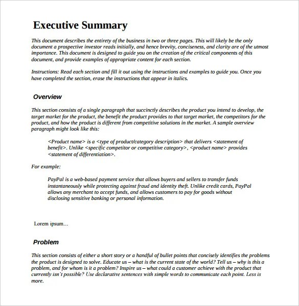 Executive Report Template Word – One Page Executive Summary Template