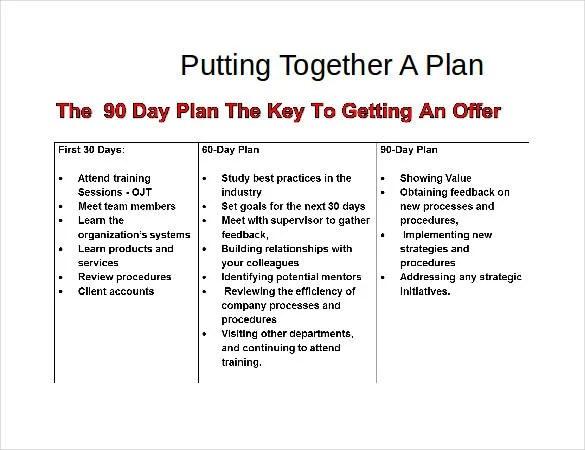 19+ 30 60 90 Day Plan Templates - PDF, DOC Free  Premium Templates