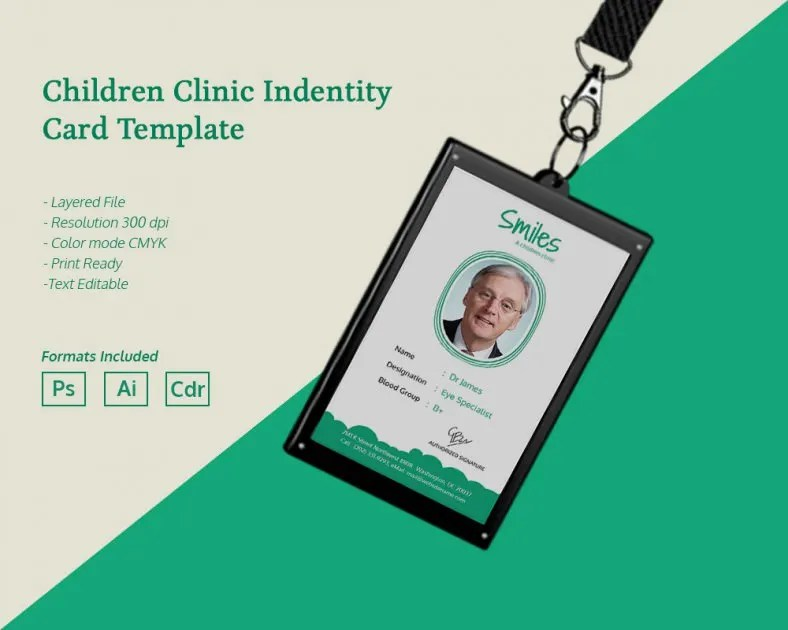 Simple Children Clinic Identity Card Template Free \ Premium - id card template