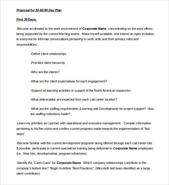 30 60 90 Day Plan Template - 20+ Free Word, PDF, PPT, Prezi - project plan templates word