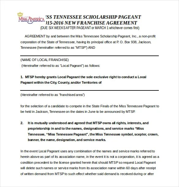 Franchise Agreement Template \u2013 12+ Free Word, PDF Documents Download