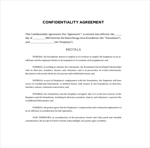 Confidentiality Agreement Templates - 9+ Free Word Documents