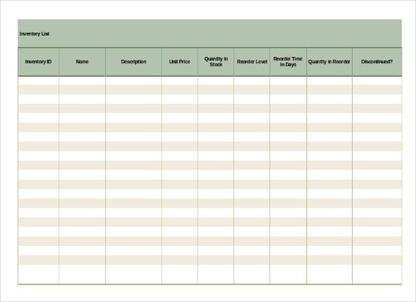 16+ Inventory List Templates \u2013 Free Sample, Example, Format Download - inventory list example