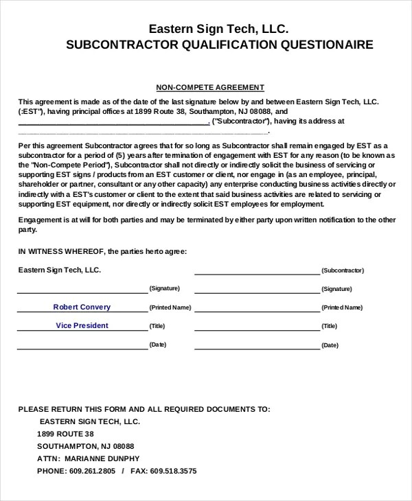 Business Non-Compete Agreement \u2013 10+ Free Word, PDF Documents - non compete agreement template