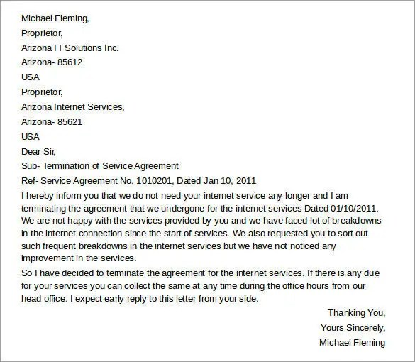 11+ Termination of Services Letter Templates - PDF, DOC Free