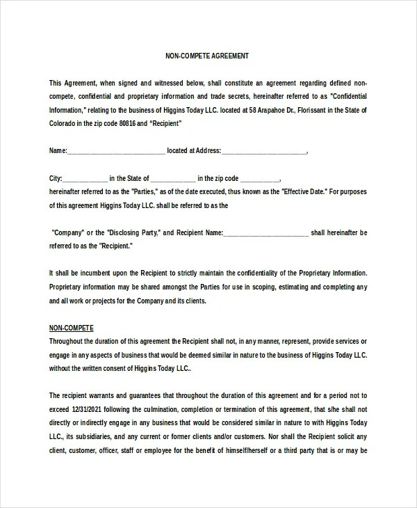 10+ Vendor Non-Compete Agreement Templates - Free Sample, Example