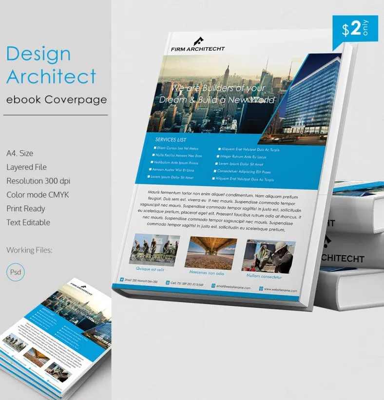 Rich Design Architect A4 eBook Cover Page Template Free  Premium - cover page templates