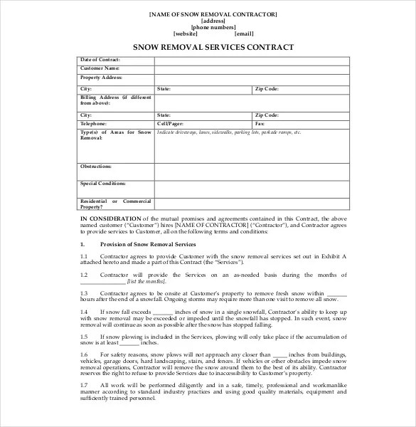 Snow Plowing Contract Template - 20+ Free Word, PDF Documents - business service contract template
