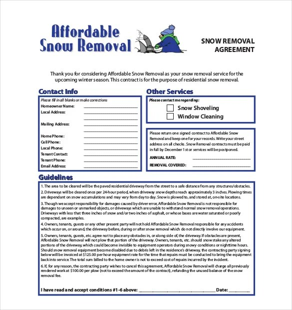 Snow Plowing Contract Template - 20+ Free Word, PDF Documents - yearly contract template
