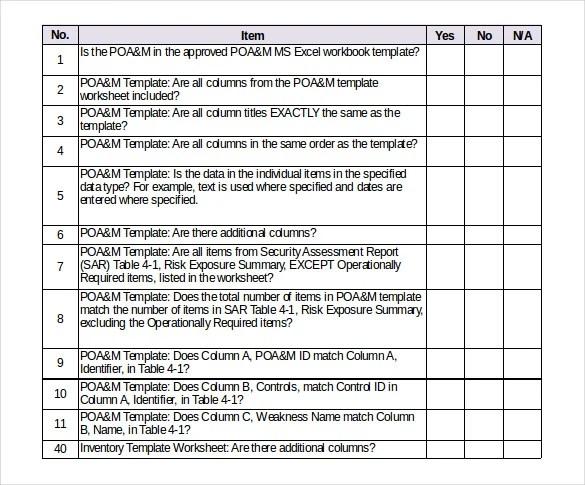 Risk Assessment Checklist Template - Design Templates