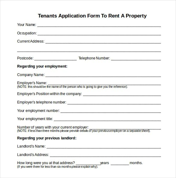 House Rent Application Form - Architectural Designs