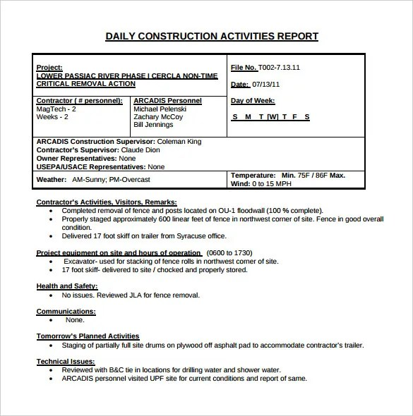 32+ Daily Construction Report Templates - PDF, DOC Free  Premium - daily construction report template