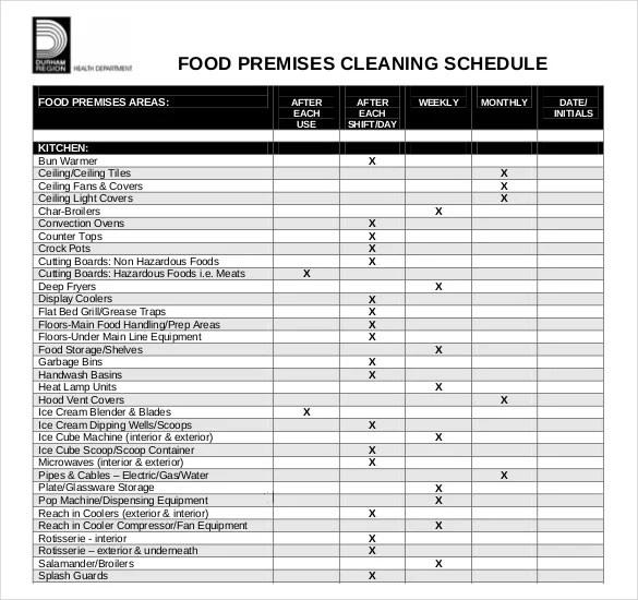 35+ Cleaning Schedule Templates - PDF, DOC, Xls Free  Premium