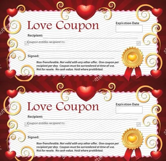 25+ Love Coupon Templates - PSD, AI, EPS, PDF Free  Premium Templates