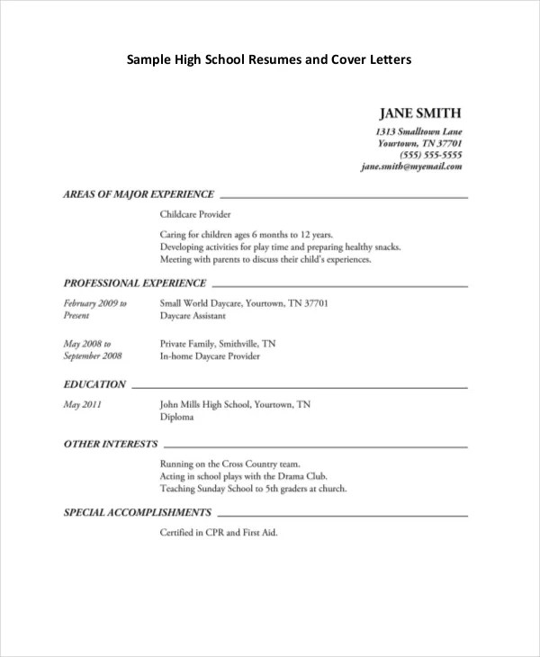 High School Student Resume Template - 6+ Free Word, PDF Documents - resume for a student