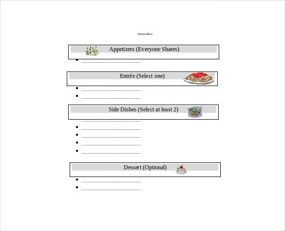 22+ Free Menu Templates - PDF, DOC, Excel, PSD Free  Premium - menu word template