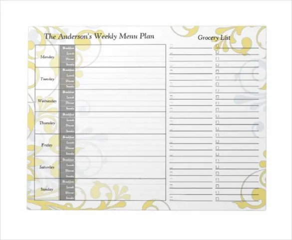 20+ Weekly Menu Templates \u2013 Free Sample, Example Format Download - Printable Weekly Menu Planner With Grocery List