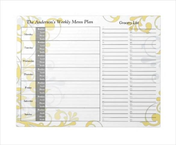 20+ Weekly Menu Templates \u2013 Free Sample, Example Format Download - weekly dinner planner with grocery list