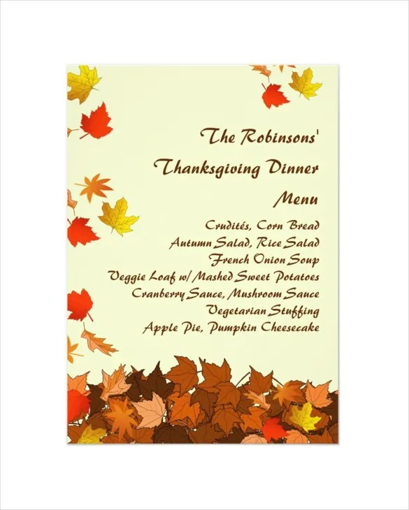 thanksgiving menu template free - Ozilalmanoof - dinner menu templates free