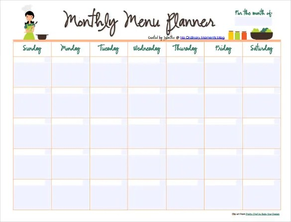 monthly menu template word - Towerssconstruction