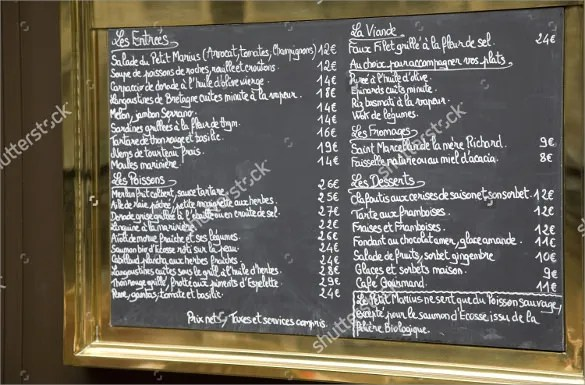 French Menu Template u2013 12+ Free PSD, EPS Format Download! Free - sample chalkboard menu template