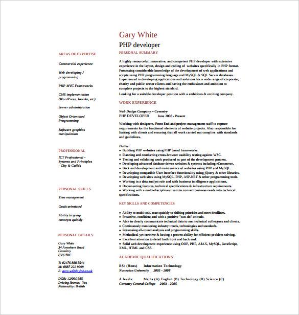 24+ PHP Developer Resume Templates - DOC, PDF Free  Premium Templates