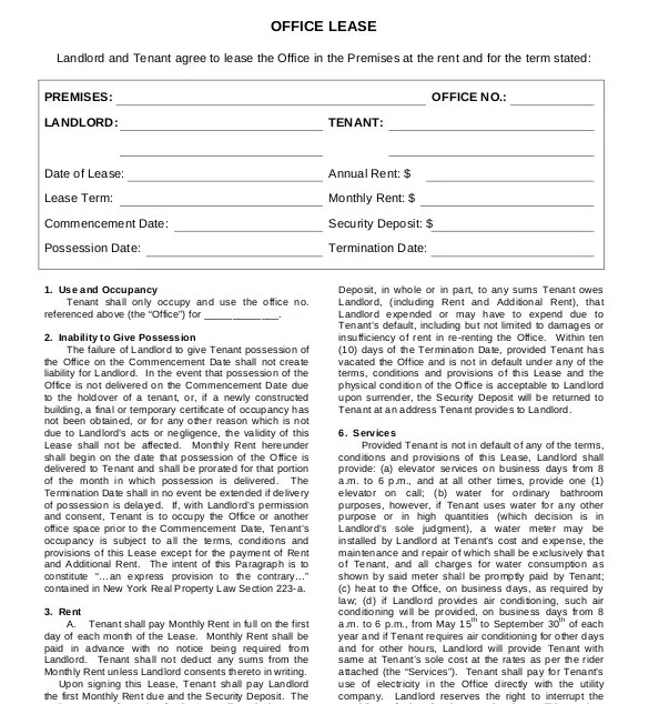 10+ Lease Agreement Templates \u2013 Free Sample, Example, Format - sample office lease agreement
