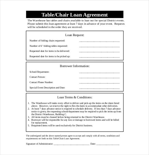 Loan agreement forms