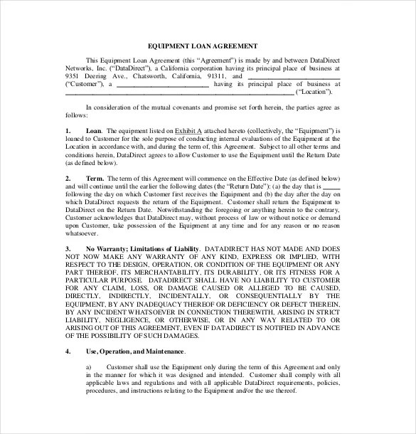 10+ Loan Agreement Templates u2013 Free Sample, Example, Format - loan templates