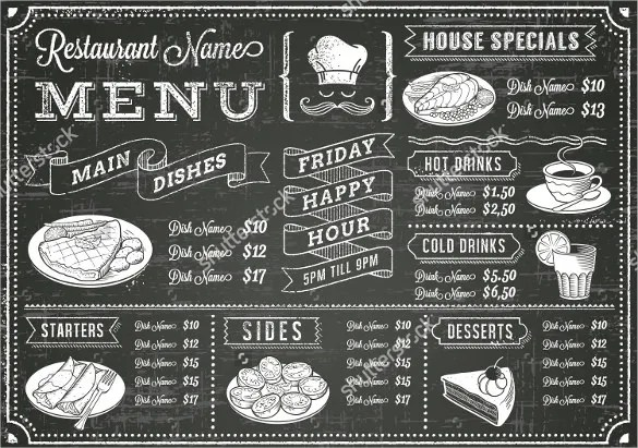 Chalkboard Menu Templates u2013 36+ Free PSD, EPS Format Download - sample drink menu template