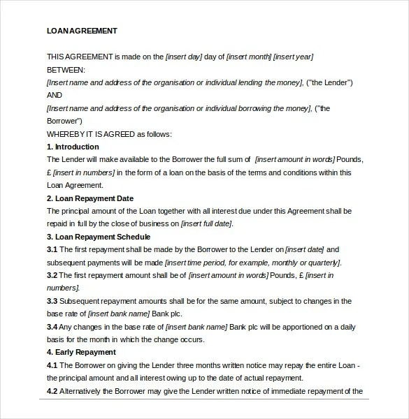 14+ Loan Agreement Templates \u2013 Free Sample, Example, Format Download - Loan Document Template