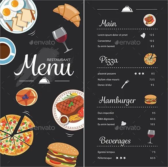 examples of menu cards in the restaurants
