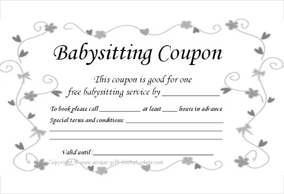 Baby Sitting Coupon Template \u2013 10+ Free Printable PDF Documents