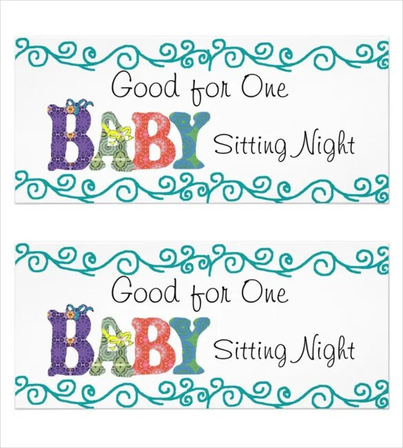 Baby Sitting Coupon Template \u2013 10+ Free Printable PDF Documents - babysitting pass