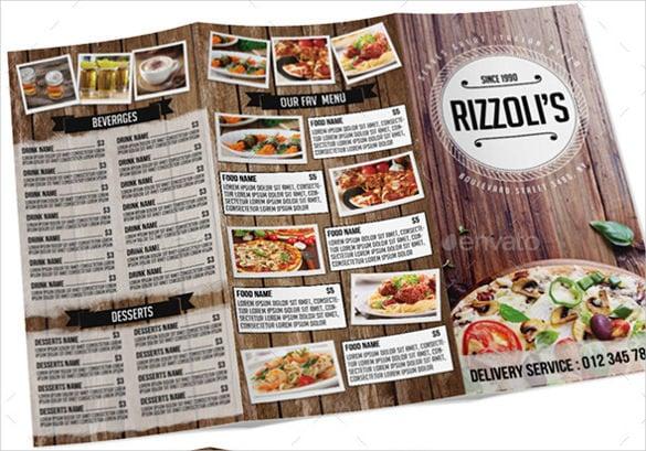 Tri Fold Menu Templates \u2013 25+ Free PSD, EPS Format Download! Free - free food menu template