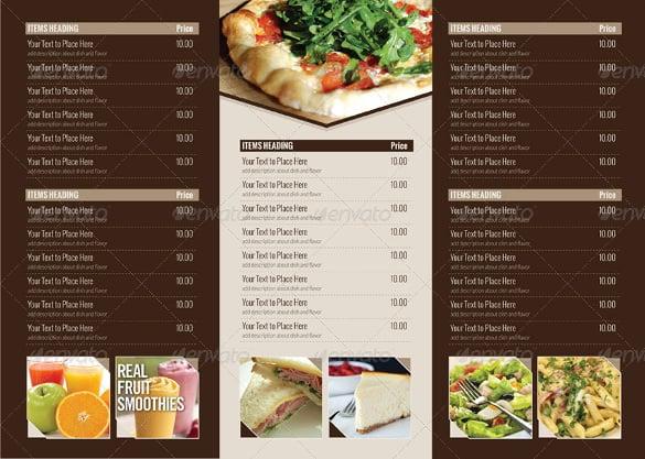 trifold menu templates - Boatjeremyeaton - Sample Pizza Menu Template