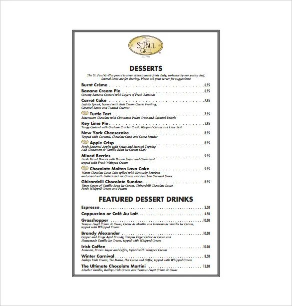 20+ Dessert Menu Templates u2013 Free Sample, Example Format Download - sample drink menu template