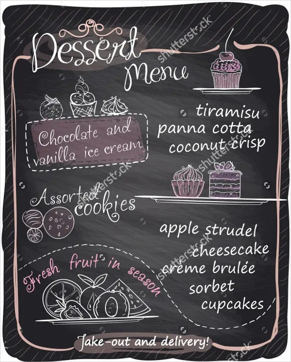 20+ Dessert Menu Templates u2013 Free Sample, Example Format Download - sample chalkboard menu template