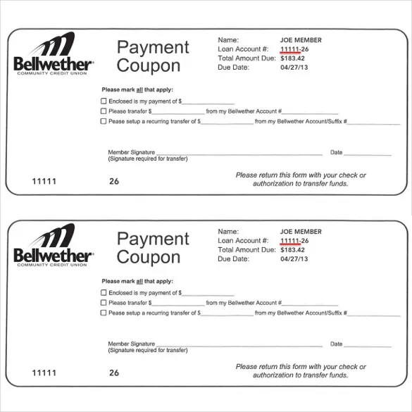 Payment Coupon Templates \u2013 11+ Free Printable PDF Documents Download - payment book template