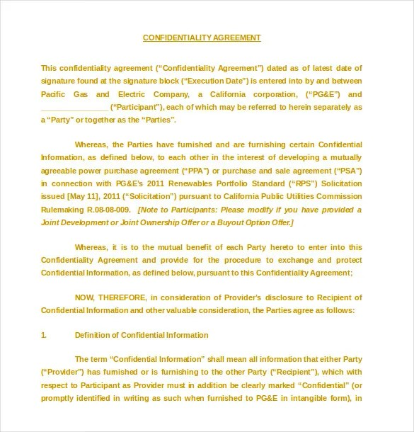 15+ Confidentiality Agreement Templates \u2013 Free Word, PDF Format